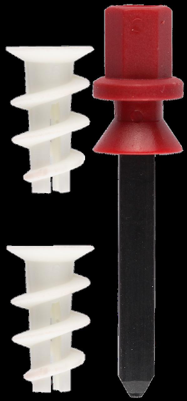 """Дюбель нейлоновый, тип """"Дрива"""", для гипсокартона в комплекте с установочной насадкой для дрели, 23 мм, 100шт,"""