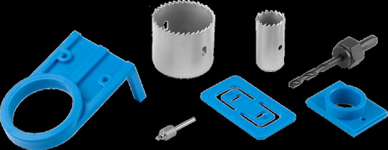 ЗУБР 7 предметов, 54мм, набор с пластиковыми шаблонами для врезания замков