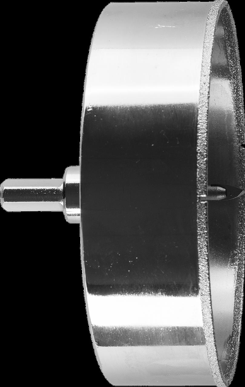 Коронка алмазная по кафелю и стеклу, d=120 мм, зерно Р 60, в сборе с центрирующим сверлом и имбусовым ключом,