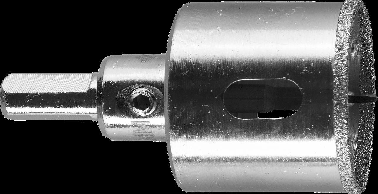 Коронка алмазная по кафелю и стеклу, d=35 мм, зерно Р 60, в сборе с центрирующим сверлом и имбусовым ключом,