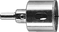 Коронка алмазная по кафелю и стеклу, d=40 мм, зерно Р 60, в сборе с центрирующим сверлом и имбусовым ключом,