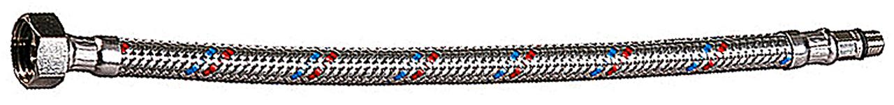 """Подводка гибкая ЗУБР для воды к смесителям, оплетка из нержавеющей стали, укороченная, г/ш 1/2"""" - 1,2м"""