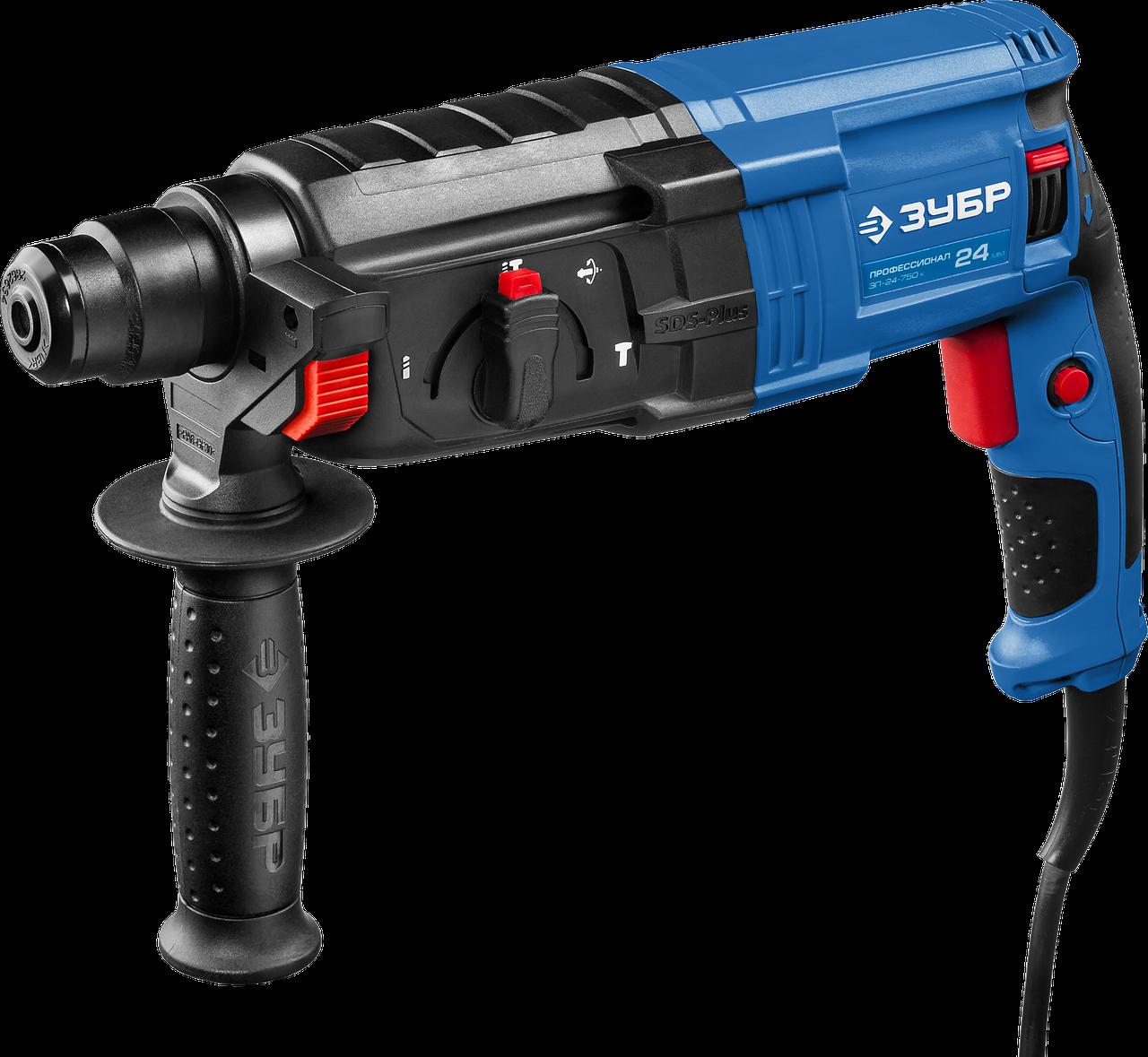 Перфоратор SDS-plus, ЗУБР Профессионал ЗП-24-750 К, реверс, горизонтальный, 2.6 Дж, 0-1100 об/мин, 0-4500