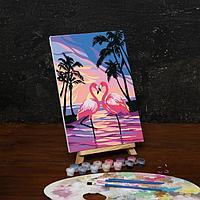 Роспись по холсту Фламинго на закате 20*30