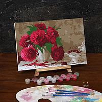 Роспись по холсту Розовые пионы 20*30
