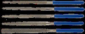 """Набор ЗУБР """"ЭКСПЕРТ"""" Надфили с алмазным напылением в пластиковом боксе, P 140, 140х75мм, 5 предметов"""