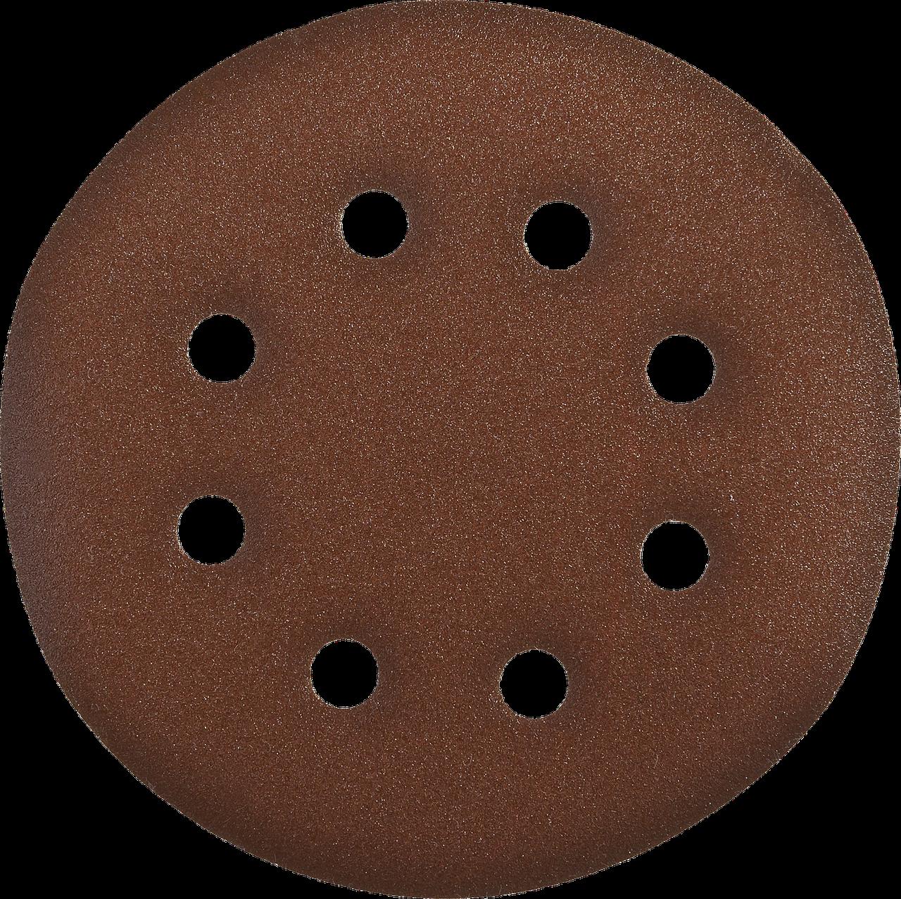Круг шлифовальный из абразивной бумаги, ЗУБР Стандарт 35350-150-040, на велкро основе, 6 отв., Р40, 150мм, 5шт