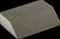 """Губка шлифовальная ЗУБР """"Мастер"""" четырехсторонняя угловая, средняя жесткость, Р80, 100х68х42х26мм Оксид"""