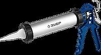 ЗУБР 310 мл универсальный закрытый пистолет для герметика, алюминиевый корпус, серия Профессионал, фото 1