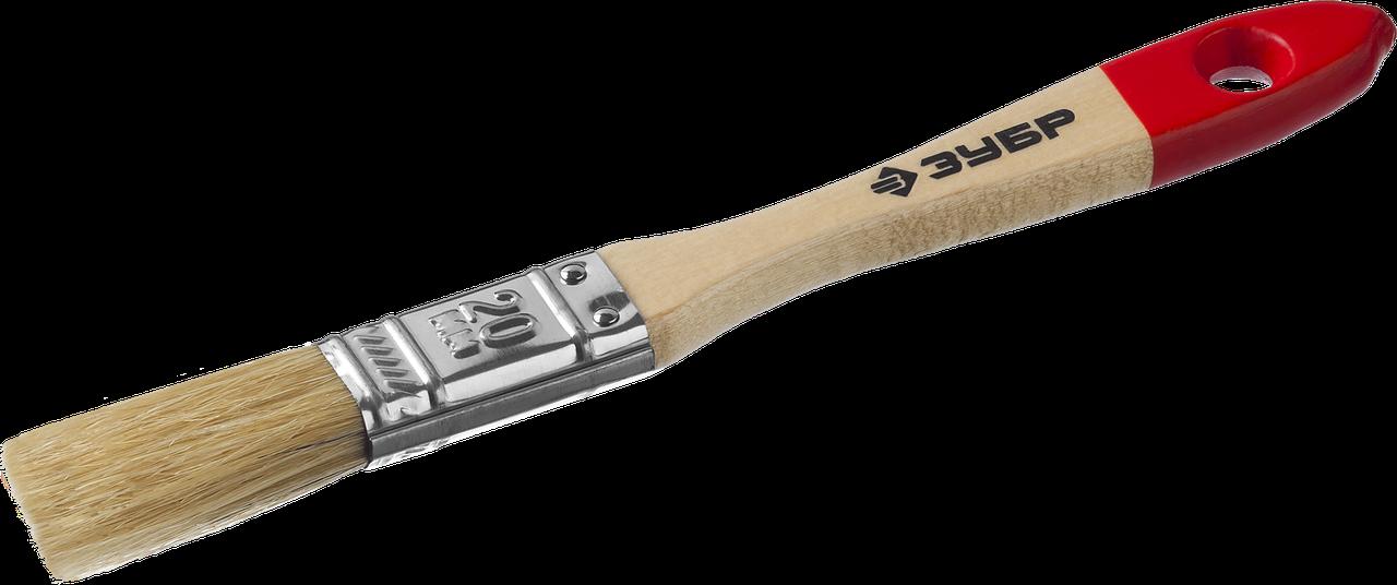 """Кисть плоская ЗУБР """"УНИВЕРСАЛ-МАСТЕР"""", натуральная щетина, деревянная ручка, 20мм"""