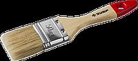 """Кисть плоская ЗУБР """"УНИВЕРСАЛ-МАСТЕР"""", натуральная щетина, деревянная ручка, 50мм"""