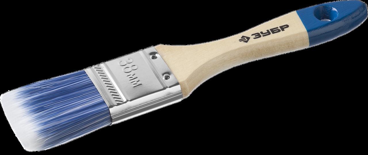 """Кисть плоская ЗУБР """"АКВА-МАСТЕР"""", искусственная щетина, деревянная ручка, 38мм"""