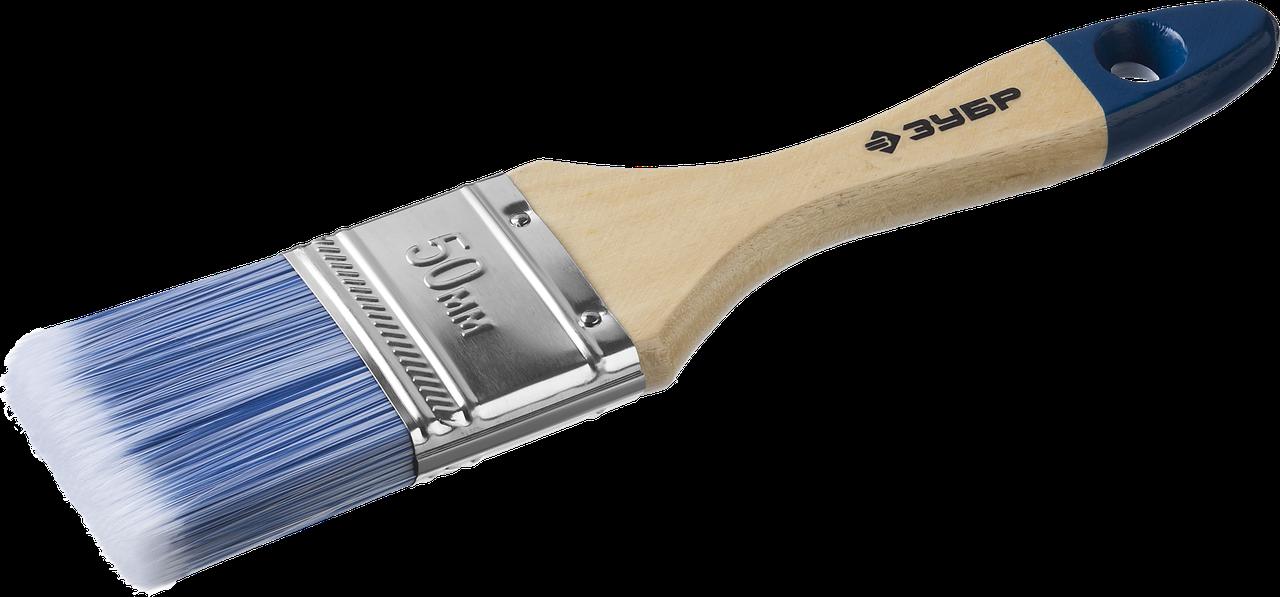 """Кисть плоская ЗУБР """"АКВА-МАСТЕР"""", искусственная щетина, деревянная ручка, 50мм"""