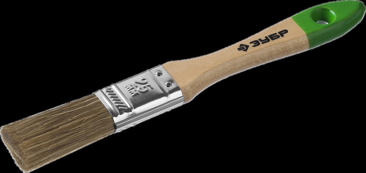 """Кисть плоская ЗУБР """"ЛАЗУРЬ-МАСТЕР"""", смешанная щетина, деревянная ручка, 20мм 1"""