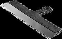 """Шпатель ЗУБР """"Мастер"""" ФАСАДНЫЙ, нержавеющее полотно, 150мм, зуб 4х4мм пластмасса, 450"""