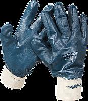 Перчатки ЗУБР рабочие с манжетой, с полным нитриловым покрытием, размер L (9) M