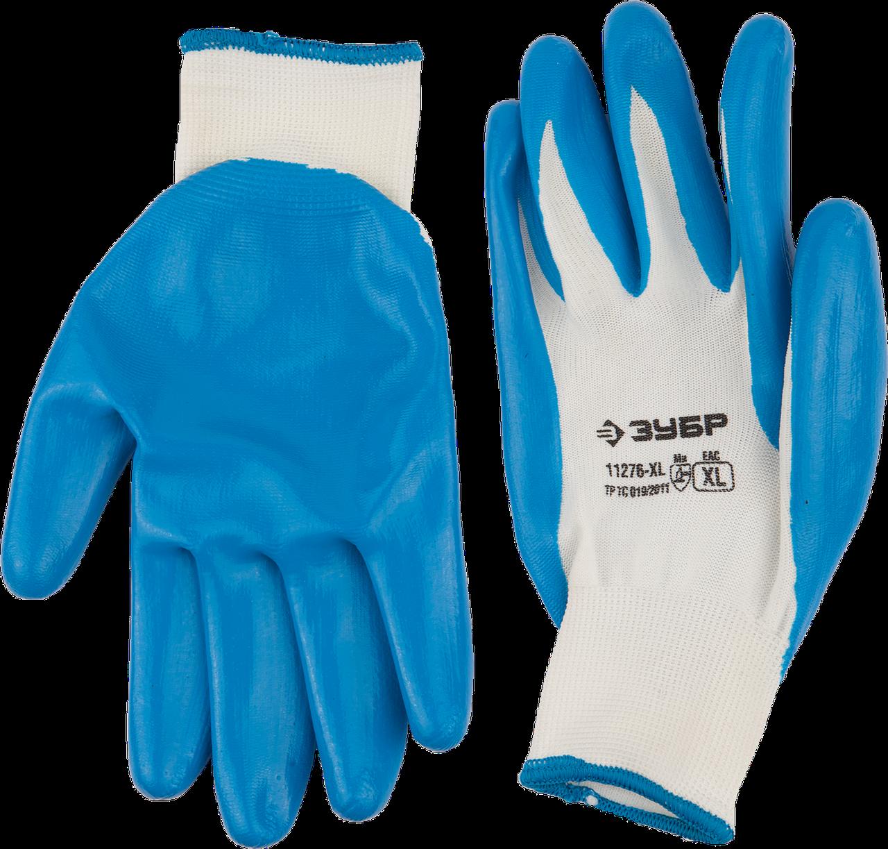 """Перчатки ЗУБР """"Мастер"""" маслостойкие для точных работ, с нитриловым покрытием, размер M (8) XL"""