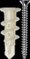 """Дюбель нейлоновый, тип """"Дрива"""" со сверлом, для гипсокартона, с оцинкованным саморезом, 33 мм, 4 шт, ЗУБР"""