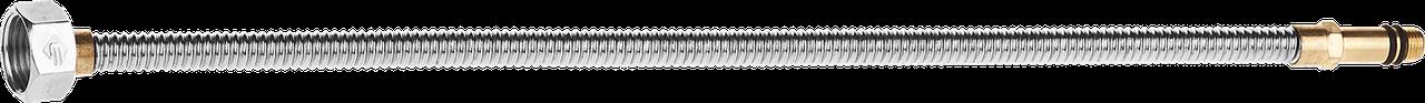 """Подводка ЗУБР """"ЭКСПЕРТ"""" сильфонная из нержавеющей стали, для смесителя, удлиненная, г/ш (гайка-штуцер), 1/2"""","""