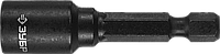 "Бита ЗУБР ""ПРОФИ"" ""Нат-драйвер"" с торцовой головкой, магнитная, хвостовик E 1/4"", L=50мм, 8мм, 1шт, фото 1"