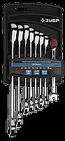 Набор комбинированных гаечных ключей трещоточных 6 шт, 8 - 17 мм, ЗУБР 8 8, 10, 12, 13, 14, 15, 17, 19 мм,, фото 1