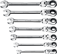 Набор комбинированных гаечных ключей трещоточных шарнирных 7 шт, 8 - 19 мм, ЗУБР, фото 1