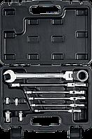 Набор комбинированных гаечных ключей трещоточных шарнирных с  адаптерами, 10 шт, 8 - 19 мм, ЗУБР, фото 1