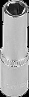 """Головка торцовая ЗУБР """"Мастер"""" (1/4""""), удлиненная, Cr-V, FLANK, хроматированное покрытие, 6мм"""
