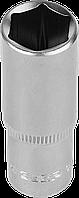 """Головка торцовая ЗУБР """"Мастер"""" (1/4""""), удлиненная, Cr-V, FLANK, хроматированное покрытие, 6мм 12"""