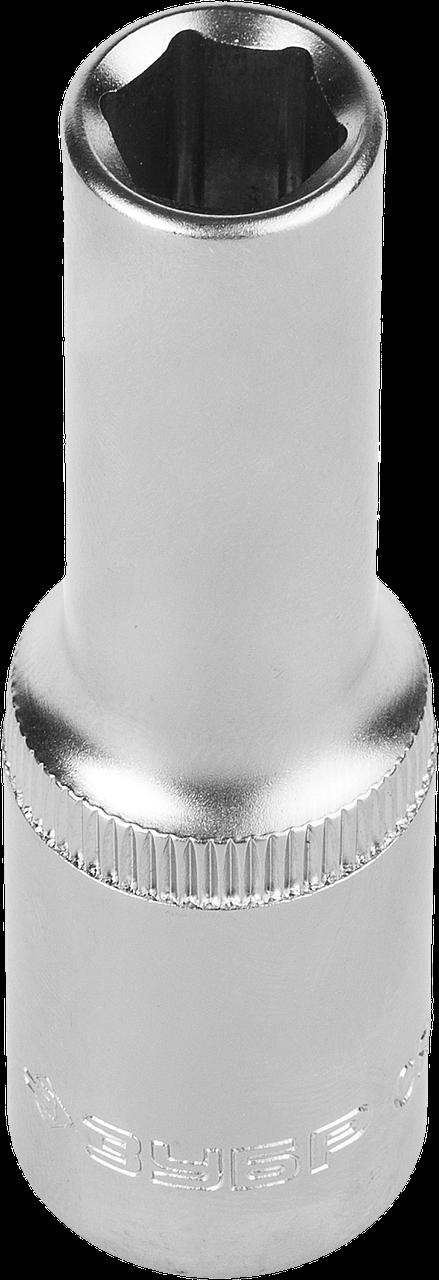 """Головка торцовая ЗУБР """"Мастер"""" (1/2""""), удлиненная, Cr-V, FLANK, хроматированное покрытие, 8мм 10"""