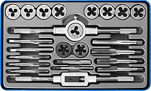 ЗУБР 24 предмета, набор метчиков и плашек, сталь Р6М5