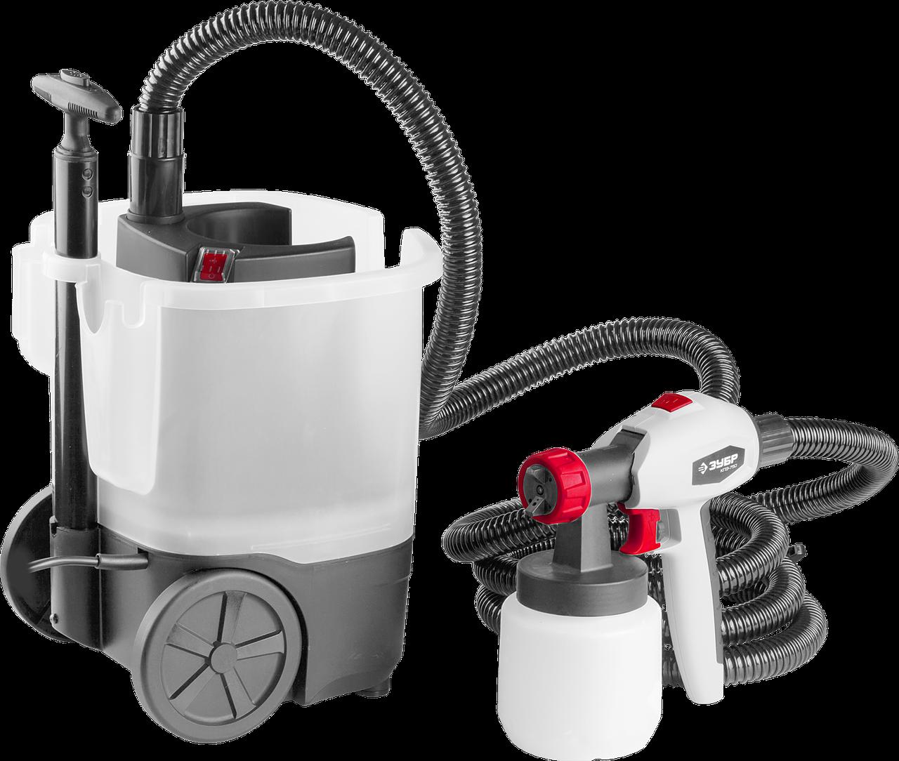 Краскопульт (краскораспылитель) электрич, ЗУБР КПЭ-750, HVLP, 0.8л, краскоперенос 0-800мл/мин,вязкость краски