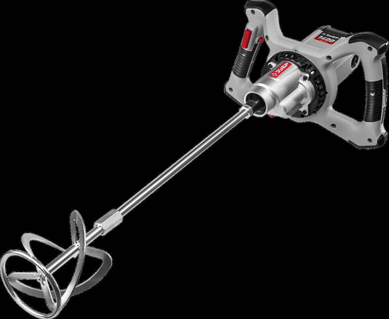 Миксер ЗУБР МР-1400-2 строительный, 2-скоростной, 1400 Вт, 13 Нм, 0-620 / 0-810 об/мин, М14 патрон,