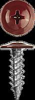 Саморезы ПШМ для листового металла, 16 х 4.2 мм, 500 шт, RAL-3005 темно-красный, ЗУБР 25, 400, RAL 3005