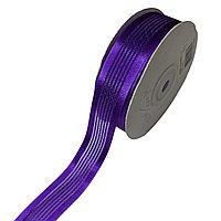 Лента декоративная капроновая с полосками 25 мм, К-223 фиолетовый