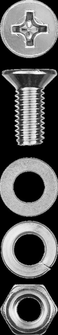 Винт (DIN965) в комплекте с гайкой (DIN934), шайбой (DIN125), шайбой пруж. (DIN127), M4 x 16 мм, 30 шт, ЗУБР
