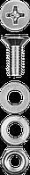 Винт (DIN965) в комплекте с гайкой (DIN934), шайбой (DIN125), шайбой пруж. (DIN127), M4 x 16 мм, 30 шт, ЗУБР, фото 1