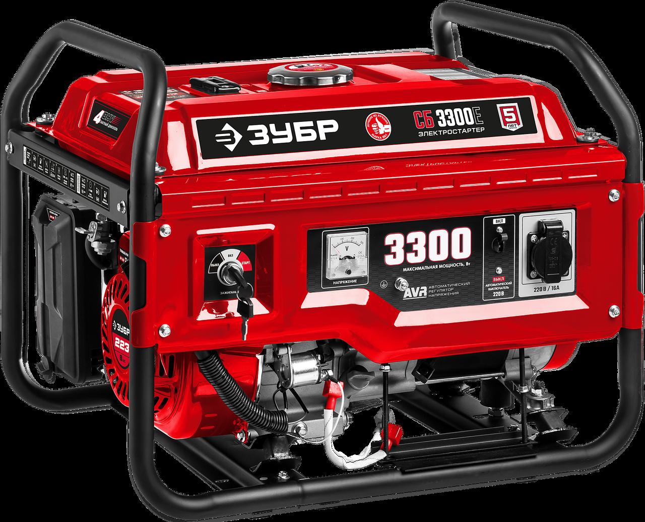 СБ-3300Е бензиновый генератор с электростартером, 3300 Вт, ЗУБР