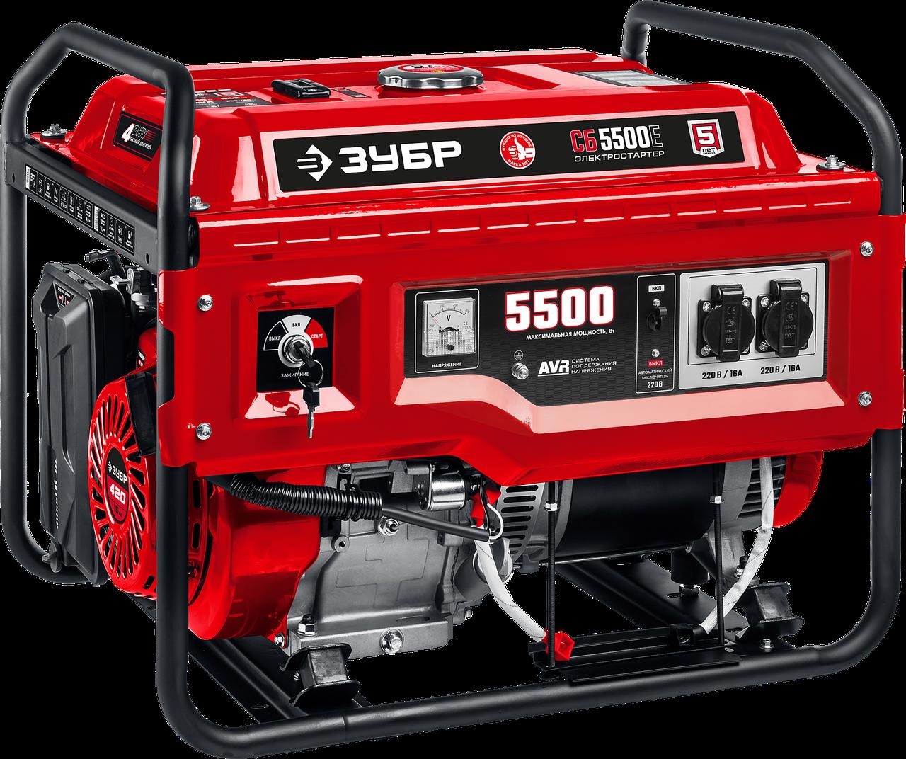 СБ-5500Е бензиновый генератор с электростартером, 5500 Вт, ЗУБР