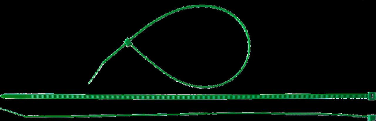 Кабельные стяжки зеленые КС-З1, 3.6 x 200 мм, 100 шт, нейлоновые, ЗУБР Профессионал 300