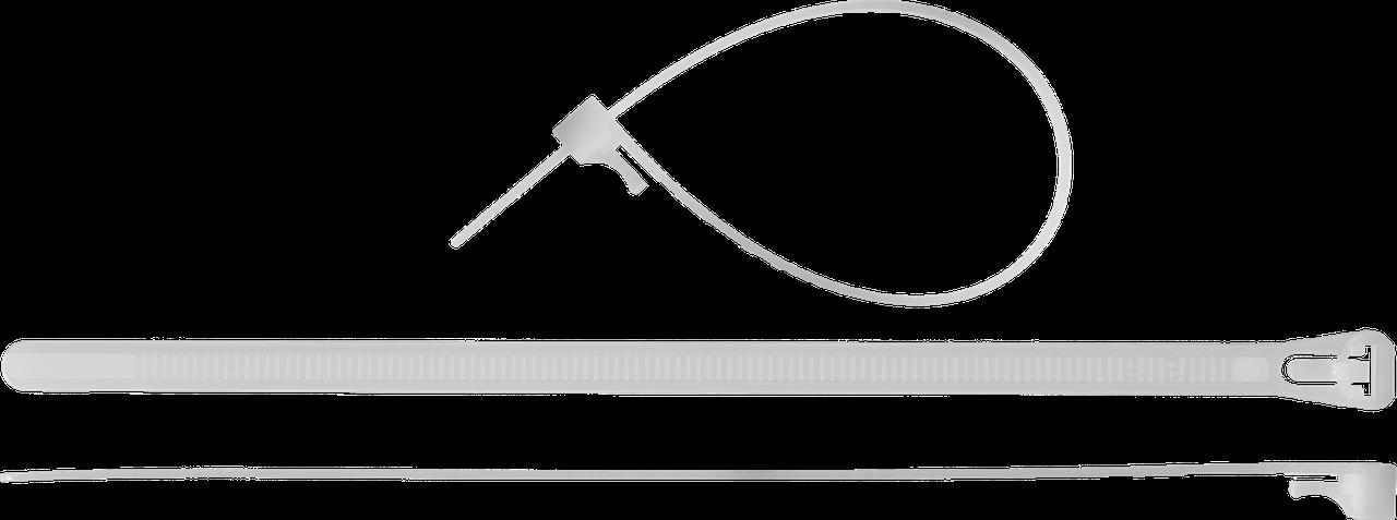 Кабельные стяжки разъемные белые КСР-Б1, 7.5 x 150 мм, 100 шт, нейлоновые, ЗУБР Профессионал 200