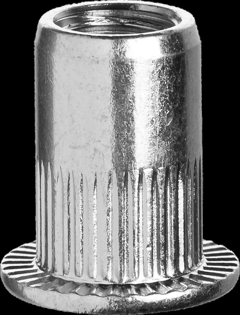 Резьбовые заклепки с насечками, М4, 1000 шт, стальные, стандартный бортик, ЗУБР Профессионал