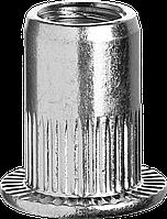 Резьбовые заклепки с насечками, М4, 1000 шт, стальные, стандартный бортик, ЗУБР Профессионал, фото 1