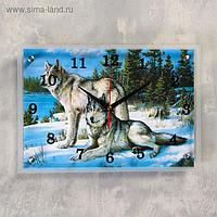 """Часы настенные прямоугольные """"Волки в Зимнем Лесу"""", 25х35 см"""