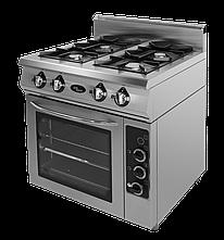 Плита газовая 4-х горелочная Ф4ПДГ/800 с комбинированной духовкой Grill Master