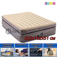 """Двуспальный надувной матрас, Intext 64164 """"Prime Comfort"""" с насосом, размер 203х152х51 см, фото 1"""