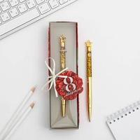 Фигурная ручка в подарочной коробке 'С 8 марта', металл