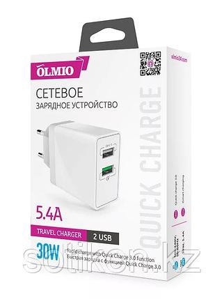 Зарядное устройство сетевое OLMIO 2USB, QC3.0+Smart IC, 30W, фото 2