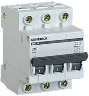 Автоматический выключатель ВА47-29 3Р 10А 4,5кА х-ка С GENERICA