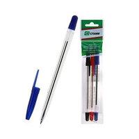 Набор ручек шариковых микс 3 цвета 'Стамм' 111, узел 0.7 мм, чернила на масляной основе синие, красные,